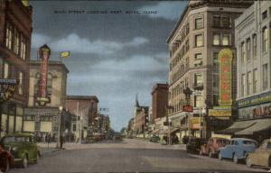 Boise ID Main St. West at Night Linen Postcard