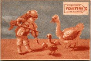 VICTORIAN TRADE CARD VEGETINE BLOOD PURIFY FANTASY - FIDDLE DUCK