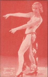 Nude Sexy Showgirl Pin-Up Exhibit Mutoscope Card RED TINT - DANCING BEAUTY