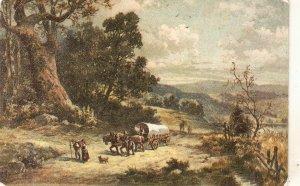 Country scene. horses.Caravan Nice vintage German postcard