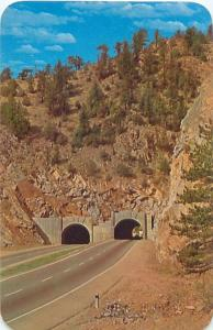 IDAHO SPRINGS ID TUNNELS ON HWY US 6 & 40  VERY RUGGED CANON  POSTCARD c1960s