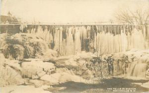1912 Smithville New Hampshire Falls Winter RPPC real photo postcard 5577
