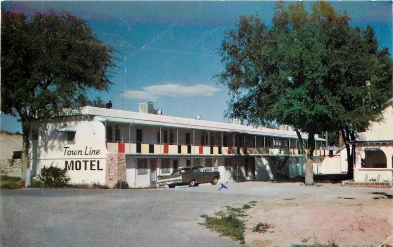 Crawford Nebraska Shade Trees Two Story Town Line Motel 1950s Car Postcard