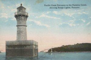 Vintage Postcard Canal Pacific Coast Entrance showing Range Lights