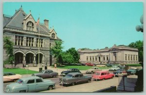 Concord New Hampshire~Pink Station Wagon~Post Office & Historical Building~1950s