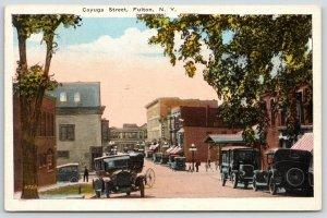 Fulton New York~Vintage Cars Line Cayuga Street~Stores & Business~1920s Postcard