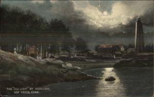 New Haven CT Lighthouse at Night c1910 Postcard