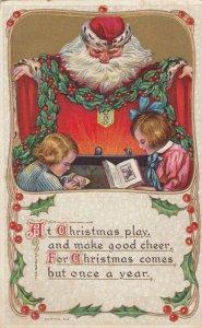 CHRISTMAS, 1900-10s ; Santa Claus watches 2 children