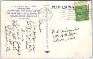 Tallahassee, Florida Postcard CLARK'S DELUXE AUTO COURTS Roadside Linen 1940