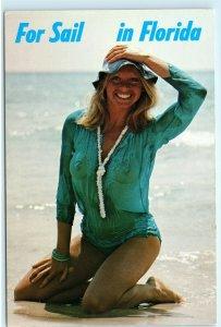 Florida Sexy Woman Beach Beauty Risque Pin-up Wet T-Shirt Nude Tits Postcard E05