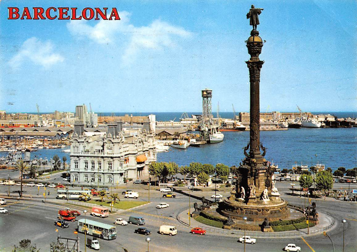 05dd0607f87 Spain Barcelona Monumento a Colon y Puerto Auto Cars Voitures Ship ...