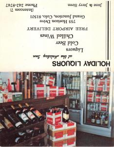 Grand Junction Colorado~Holiday Liquors~Coors Beer~Wine Bottles~Folding Postcard