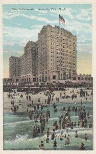 ATLANTIC CITY, New Jersey, 1900-10s; The Ambassador Hotel and beach goers