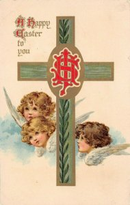 LP94  Easter Postcard Nister Publisher Angels Religious Cross