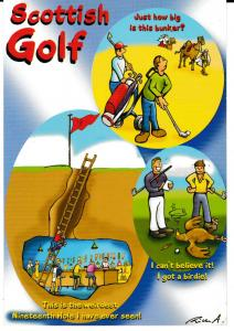 postcard comic SCOTTISH GOLF unposted