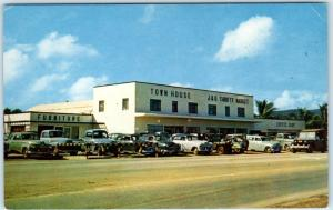 AGANA, GUAM   Roadside  TOWN HOUSE DEPARTMENT STORE  ca 1950s Cars  Postcard