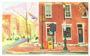 Giovanni's Room Philadelphia Book Store Shop Oil Painting Postcard