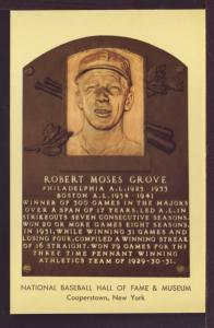 Robert Moses Grove Baseball Hall Fame Post Card 3257