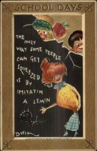 DWIG School Days Comic Teacher Students Poor Writing c1910 Postcard TUCK