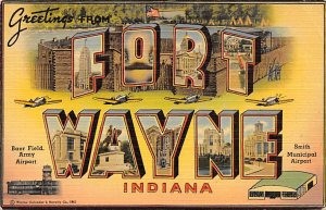 Large Letter Military Camp Post Card Greetings from Fort Wayne, Indiana, USA ...