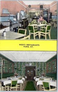 Paris, Kentucky Postcard NICK'S RESTAURANTS 2 Interior View Kropp Linen c1950s