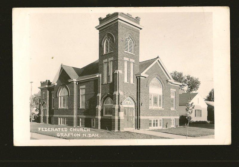 USA Federated Church Grafton North Dakota B&W Real Photo Postcard Unposted
