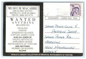 1979 Museum MaCabre Honolulu HI Postcard Shrunken Head Arne Coward Advertising