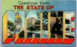 The State of MAINE Large Letter Postcard Multi-View Tichnor Linen 1943 Cancel