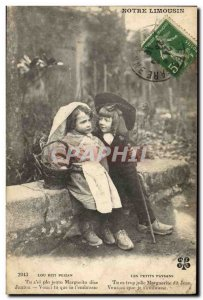 Old Postcard Folklore Limousin Children