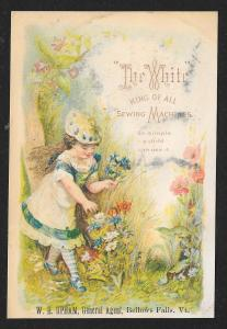 VICTORIAN TRADE CARD White Sewing Co Fancy Dressed Girl Picking Flowers