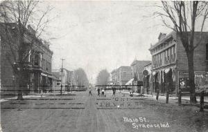 E38/ Syracuse Indiana In Postcard 1908 Main Street Stores People