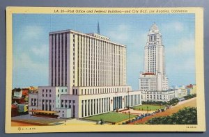 Post Office and Federal Building - and City Hall, Los Angeles, Postcard