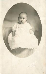Little Baby~Real Photo Postcard Van Nocker Studio (Bellevue Michigan?) c1913
