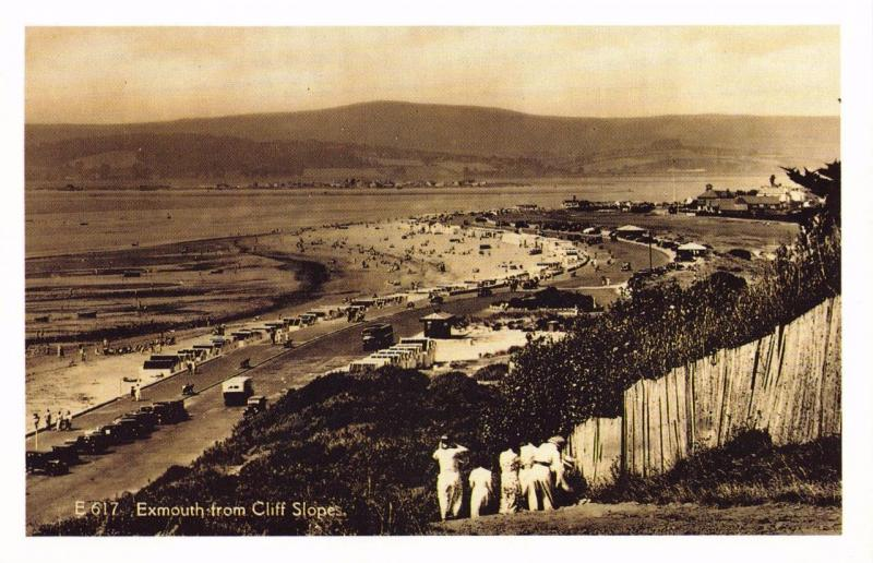 Postcard c1920's Nostalgia Exmouth from Cliff Slopes Reproduction Card B&W