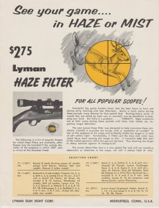 Lyman Haze Filter for Rifle Scope Vintage Ad
