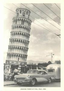 Airstream Trailer at Leaning Tower of Pisa Italy in 1964 Repro Postcard