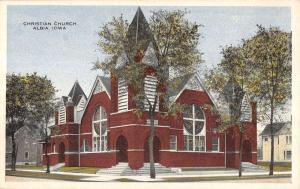 Albia Iowa Christian Church Street View Antique Postcard K13446
