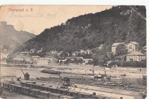 Czech Republic Obergrund a. E. 1908 cargo ships navigation train railroad