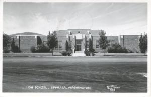 High School Ephrata Washington WA RPPC c1949 Real Photo Postcard E7