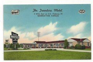 Kansas KS The Travelers Motel Manhattan Best Western AAA Standard View Card