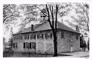 LEWISBURG, WV West Virginia   OLD STONE CHURCH~Erected 1796    B&W 1942 Postcard