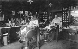 Michigan Barber Shop Interior Very Clear View RPPC Postcard