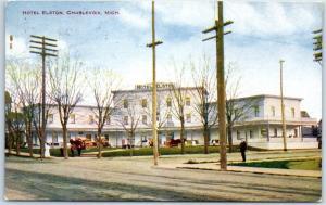 Charlevoix, Michigan Postcard HOTEL ELSTON Street View Hammon w/ 1912 Cancel
