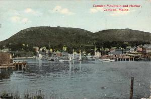 Camden Maine Mountain And Harbor Waterfront Antique Postcard K65952