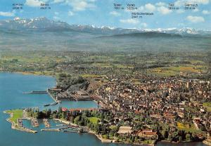 Romanshorn am Bodensee mit Saentis Flugaufnahme Hafen Harbour Altmann Saentis