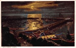 Vintage Hand Coloured Postcard TORQUAY Pier and Harbour DEVON