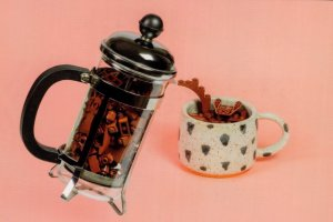 Morning Coffee Perculator Sugar Bowl Cup Flask Display Lego Toy Postcard
