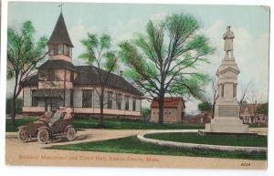 Easton MA Postcard Soldiers Monument Town Hall Car Leighton
