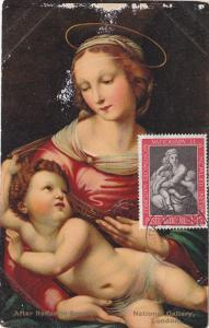 Madonna and child After Raphael, Vatican Stamp, 10-20s