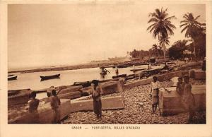 Gabon Port-Gentil, Billes d'Acajou, pirogue canoe boats